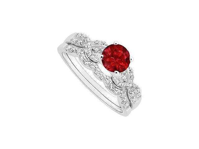 Ruby and Diamond Engagement Ring with Wedding Band Set  14K White Gold - 0.90 CT TGW