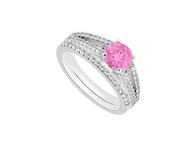 Diamond Bands with Pink Sapphire Engagement Ring Sets in 14K White Gold 1.15 Carat TGW