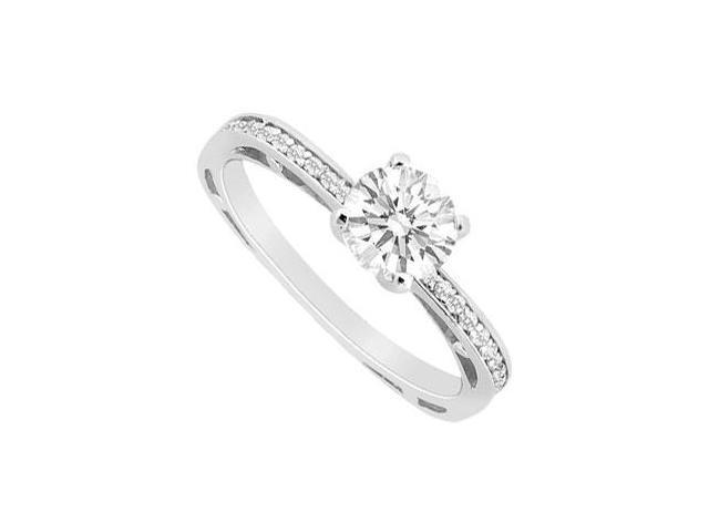 Engagement Ring in 14K White Gold Channel Set CZ of 0.75 Carat Total Gem Weight
