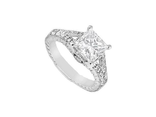 14K white Gold Round and Princess Cut Cubic Zirconia Engagement Ring 1 Carat Total Gem Weight