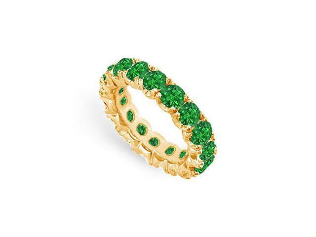 Eternity Wedding Bands of Emerald Created Six Carat TGW. Set on 18K Yellow Gold Vermeil