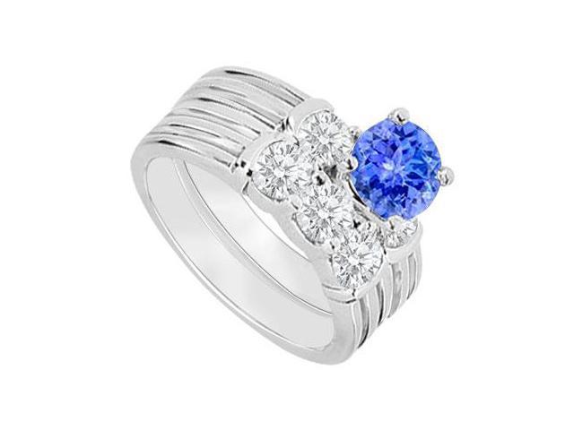 14K White Gold  Tanzanite and Diamond Engagement Ring with Wedding Band Set 1.10 CT TGW