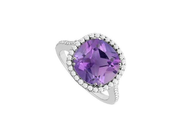 Sterling Silver Amethyst and Cubic Zirconia Ring 2.50 CT TGW