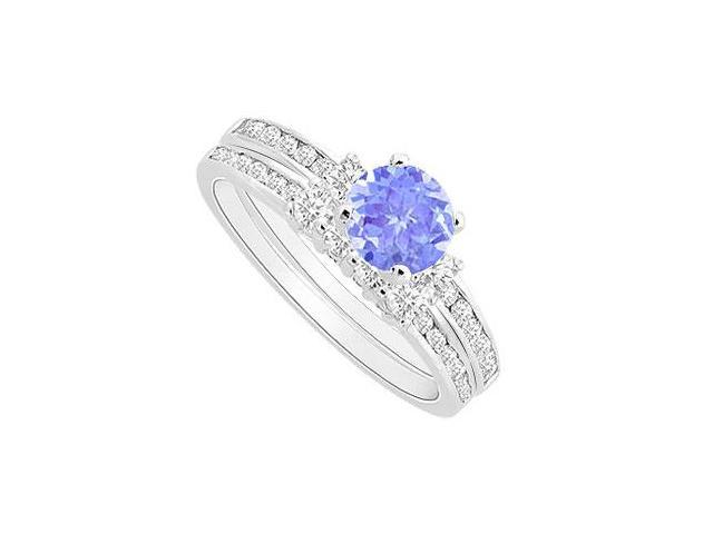 Rhodium Treated Sterling Silver Tanzanite Engagement Ring with CZ Wedding Band Sets 1.00 CT TGW