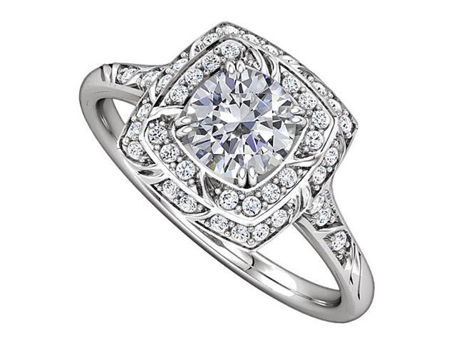 Halo Engagement Rings with CZ in 14K White Gold 2.50 CT TGW