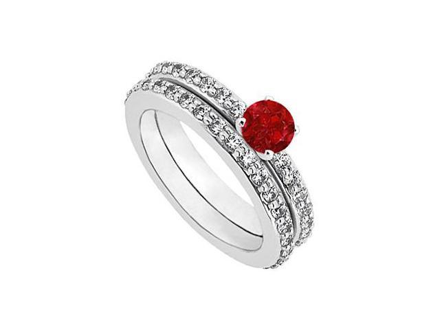July Birthstone Ruby  Diamond Engagement Ring with Wedding Band Set 14K White Gold 1 CT TGW