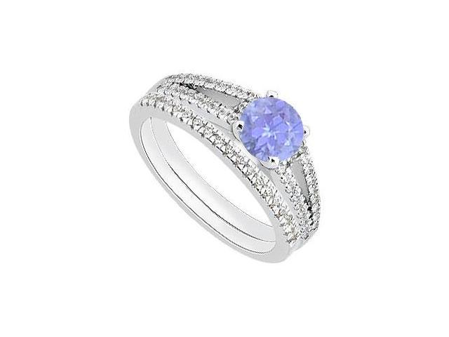 14K White Gold Wedding Band and Engagement Ring Set of Diamond and Tanzanite 1.15 Carat TGW