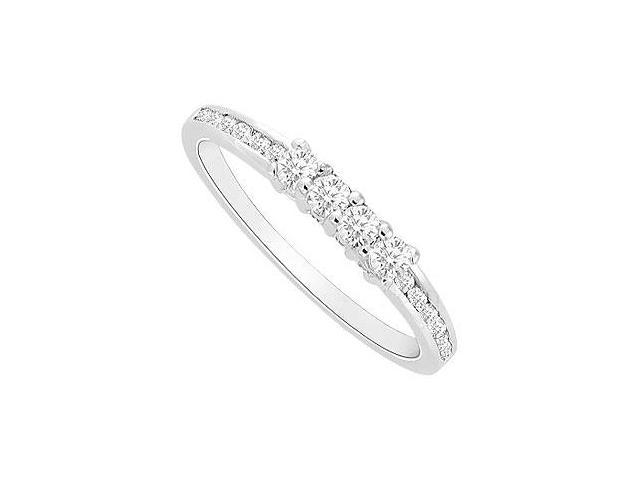 Cubic Zirconia Wedding Band in Rhodium Treated .925 Sterling Silver 0.30 Carat TGW