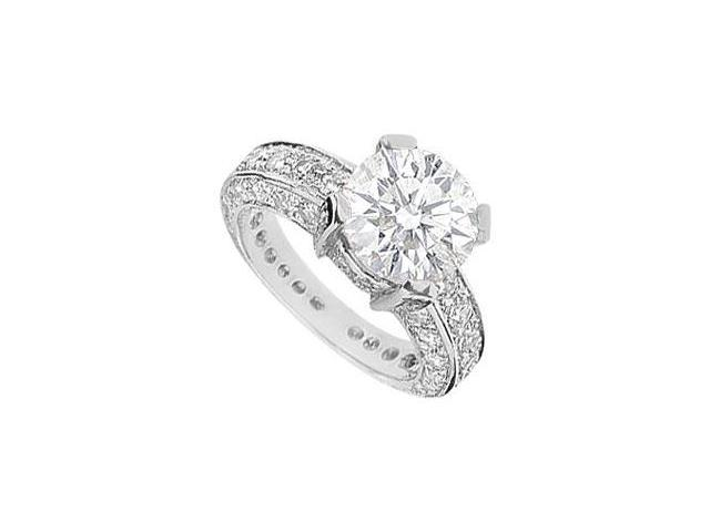Engagement Ring Cubic Zirconia in Rhodium Treated .925 Sterling Silver 5 Carat TGW