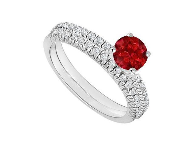 14K White Gold  Ruby and Diamond Engagement Ring with Wedding Band Set 1.00 CT TGW