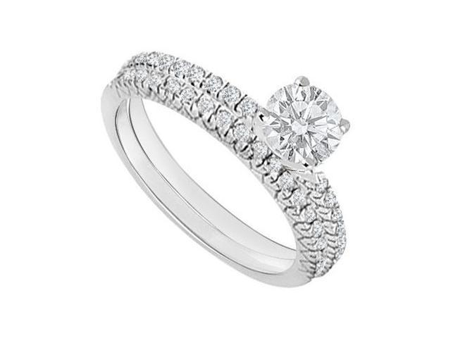 14K White Gold  Diamond Engagement Ring with Wedding Band Set 1.00 CT TDW