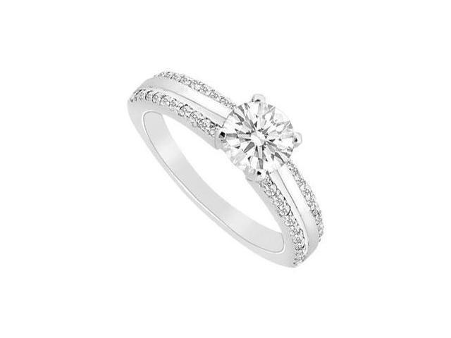 Engagement Ring in Polished 14K White Gold with CZ 0.75 Carat Total Gem Weight