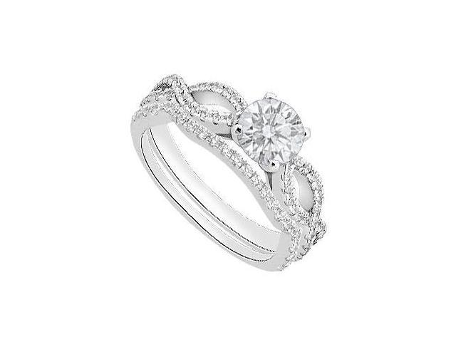 Diamond Engagement Ring with Diamond Wedding Bands in 14K White Gold 1.05 Carat Diamonds