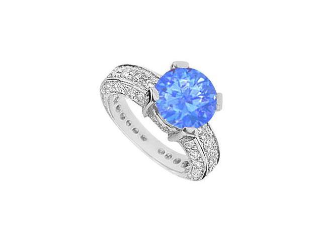 Rhodium Plating 925 Sterling Silver Engagement Ring with Diffuse Sapphire and Cubic Zirconia 5.0