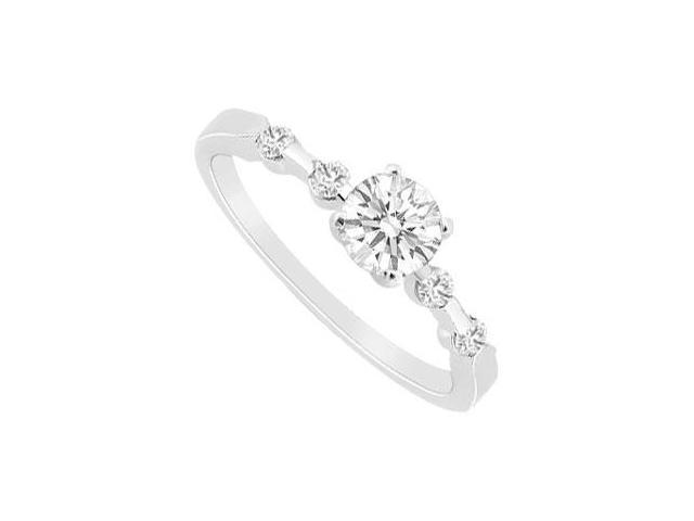 CZ Ring in 14K White Gold Engagement Ring of 0.75 Carat Total Gem Weight