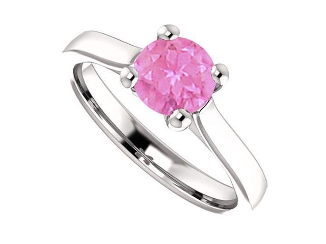 September Birthstone Created Pink Sapphire Engagement Rings in 925 Sterling Silver 1 CT TGW