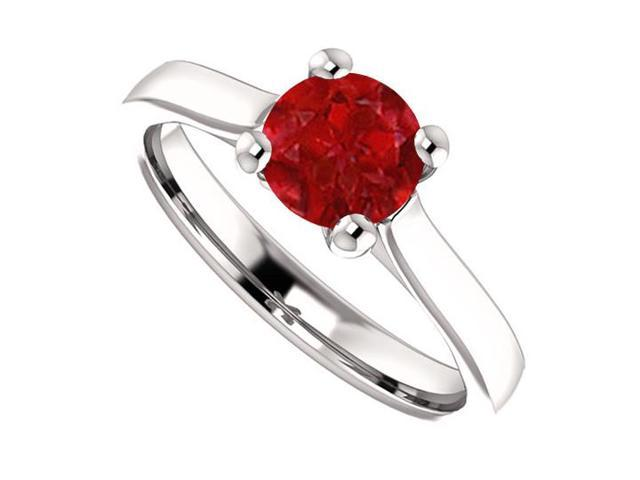 July Birthstone Created Ruby Engagement Rings in Sterling Silver 1 CT TGW