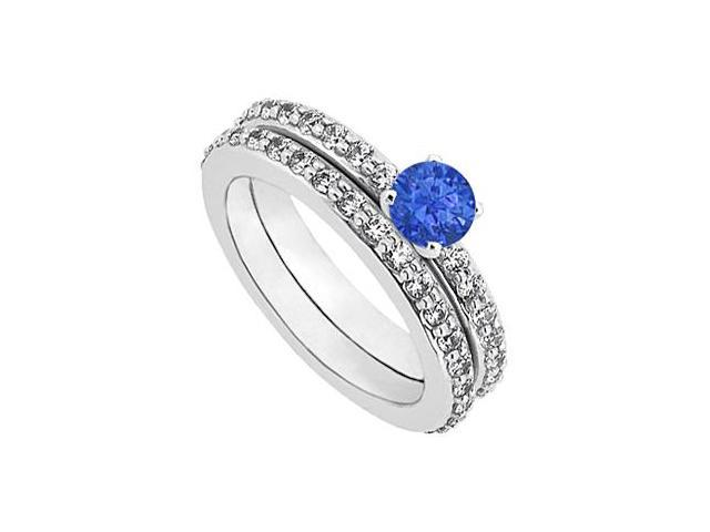 Sapphire  Diamond Engagement Ring with Wedding Band Set 14K White Gold 1 CT TGW