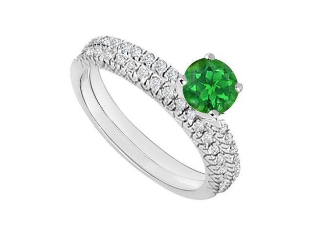 14K White Gold  Emerald and Diamond Engagement Ring with Wedding Band Set 1.00 CT TGW