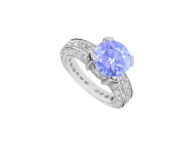 Tanzanite and CZ Engagement Ring in Rhodium Treated .925 Sterling Silver 5.00 CT TGW