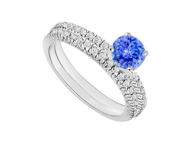 14K White Gold  Tanzanite and Diamond Engagement Ring with Wedding Band Set 1.00 CT TGW
