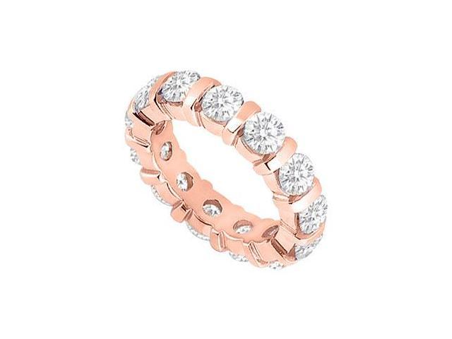 Cubic Zirconia Eternity Ring Stackable Band Bar Set on 14K Rose Gold Vermeil 4ct tgw