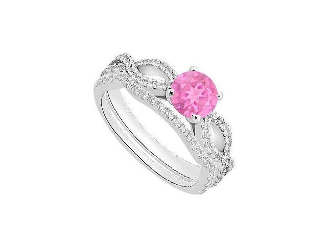 Pink Sapphire Diamond Engagement Ring with Wedding Ring Sets in White Gold 14K 1.30 Carat TGW