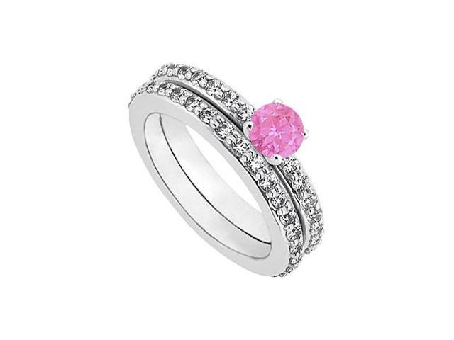 Pink Sapphire  Diamond Engagement Ring with Wedding Band Set 14K White Gold 1 CT TGW