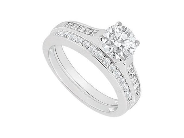 14K White Gold  Diamond Engagement Ring with Wedding Band Set 0.75 CT TDW