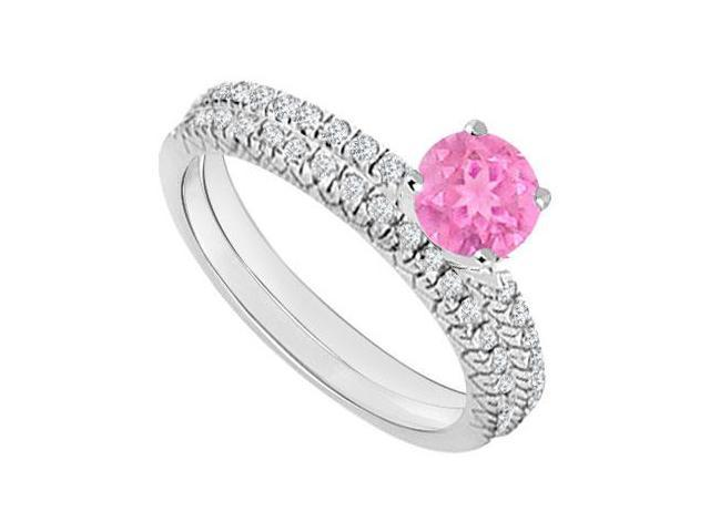 14K White Gold  Pink Sapphire and Diamond Engagement Ring with Wedding Band Set 1.00 CT TGW