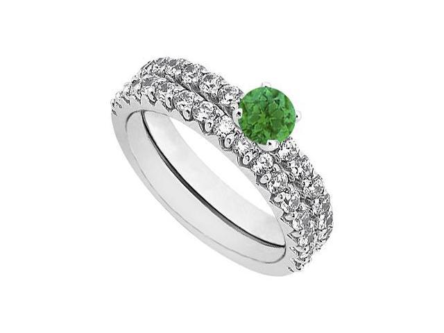 May Birthstone Emerald  Diamond Engagement Ring with Wedding Band Set 14K White Gold 1.50 CT TW