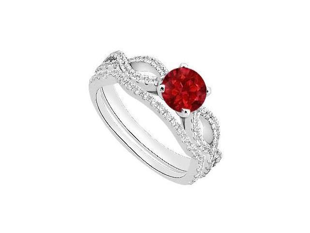 Diamond and Natural Ruby Engagement Ring with Diamond Bands in 14K White Gold 1.30 Carat TGW
