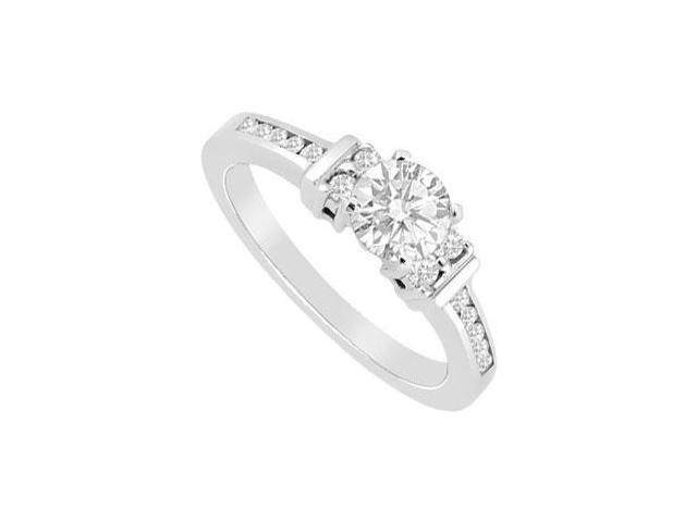 14K White Gold Cubic Zirconia 1 Carat Engagement Ring