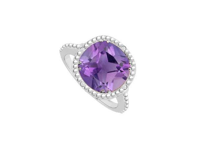 Sterling Silver Amethyst and Cubic Zirconia Ring 2.05 CT TGW