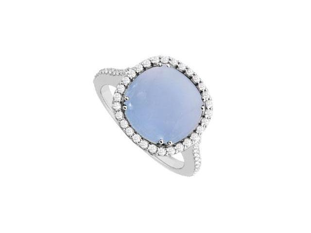 Sterling Silver Blue Chalcedony and Cubic Zirconia Ring 2.50 CT TGW