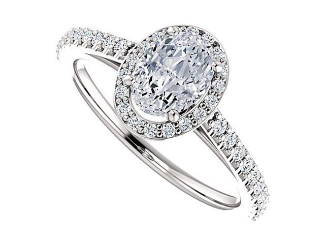 Oval Halo Engagement Rings with CZ in 14K White Gold 1.50 CT TGW