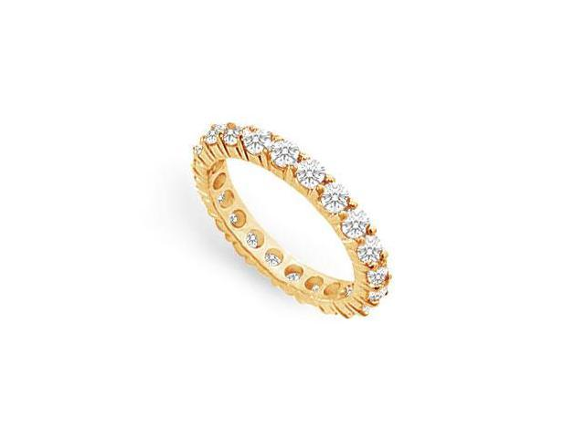 Cubic Zirconia Eternity Band Prong Set in 18K Yellow Gold Vermeil 1.50 Carat TGW