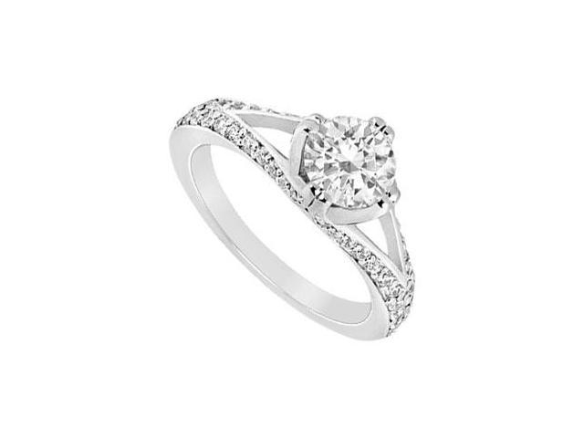 Cubic Zirconia Engagement Ring 10K White Gold 1.00 CT TGW