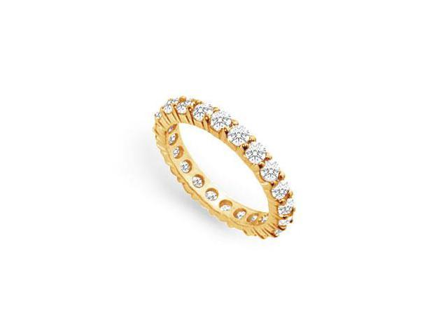 CZ Eternity Band Prong Set in 18K Yellow Gold Vermeil Two Carat TGW