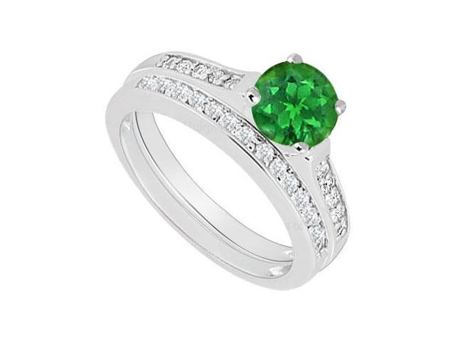14K White Gold  Emerald and Diamond Engagement Ring with Wedding Band Set 0.75 CT TGW