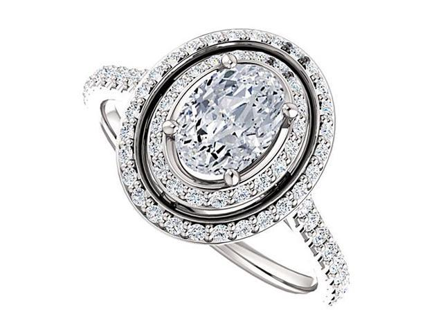 Halo Engagement Rings with CZ Double Halo in 14K White Gold 1.75 CT TGW