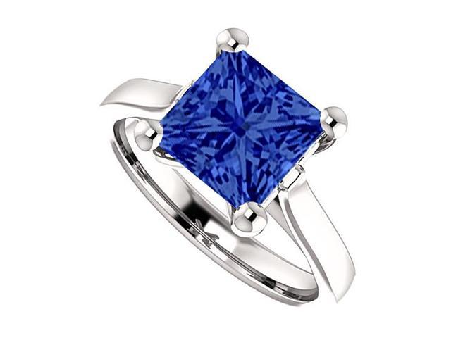 September Birthstone Square Created Blue Sapphire Engagement Rings 925 Sterling Silver 1 CT TGW