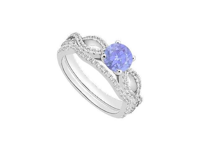 Diamond and Tanzanite Engagement Ring with Wedding Band Sets in 14K White Gold 1.30 Carat TGW