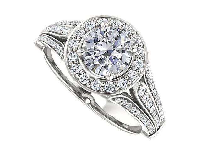 Split Shank Halo Engagement Rings with CZ  in 14K White Gold 1.50 CT TGW