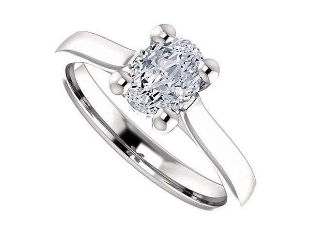 April Birthstone Cubic Zirconia Oval Engagement Rings in Sterling Silver 1 CT TGW