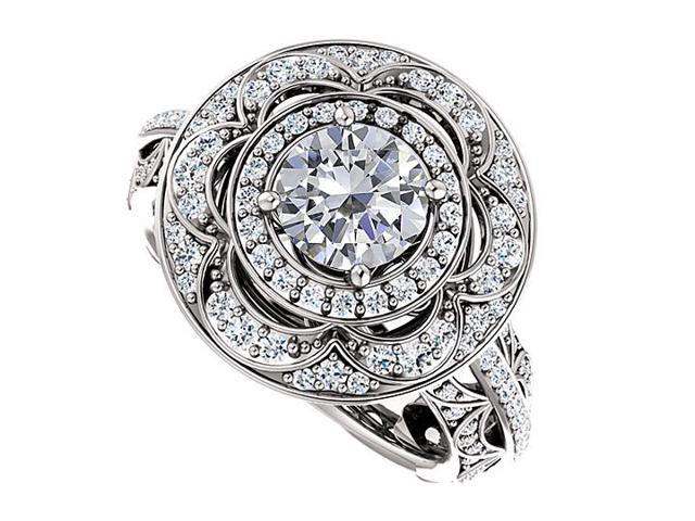 Halo Engagement Rings with CZ Double Halo in 14K White Gold 2.00 CT TGW