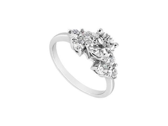 Cubic Zirconia Engagement Ring 10K White Gold 0.75 CT TGW