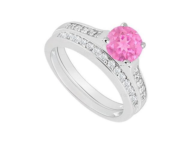 14K White Gold  Pink Sapphire and Diamond Engagement Ring with Wedding Band Set 0.75 CT TGW