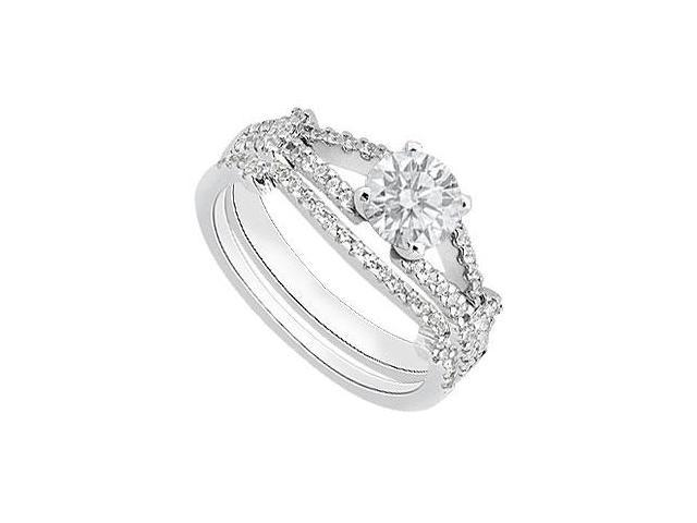 1 Carat Diamond Engagement Ring with Wedding Band Sets in White Gold 14K