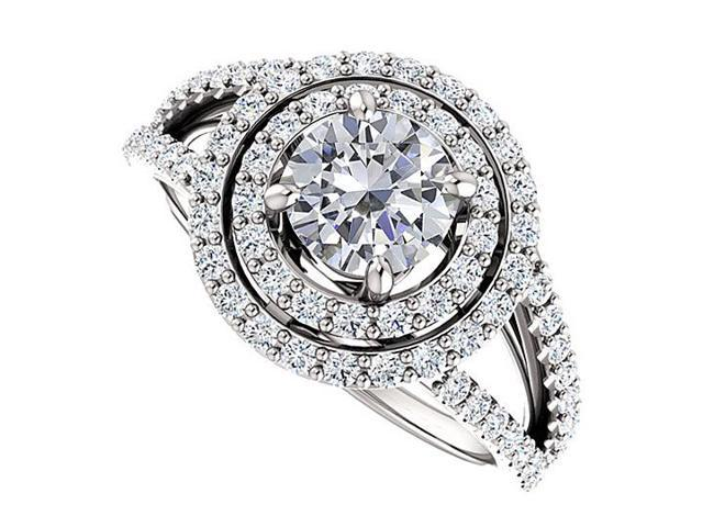 Split Shank Halo Engagement Rings with CZ  in 14K White Gold 1.75 CT TGW